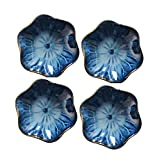 KCHAIN Pack of 4 Blue Ceramic Soy Sauce Dipping Bowls Side Dish Plates for Snack Sushi Fruit Appetizer Dessert 4 1/3 Inch