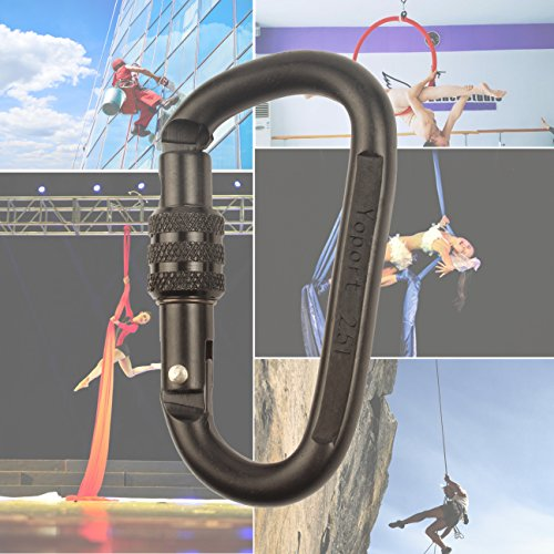 25KN Climbing Carabiner Clip Set (1 or 2 Pack) Locking D Ring with Heavy Duty Steel Alloy – Hammocks, Camping, Hiking, Traveling – Black