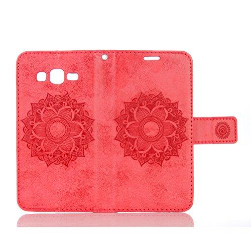 Para Galaxy Grand Prime/sm-g530g531F funda Flip cover funda piel [Tarjetero] funda piel cartera Executive Diseño + Polvo Conector rosa 4 5