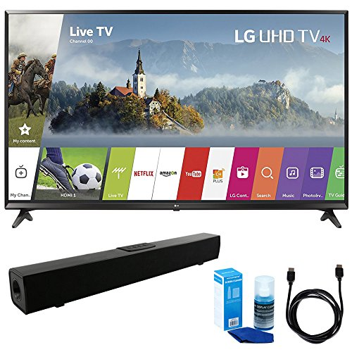 LG 55UJ6300 55-inch 4K Ultra HD Smart LED TV (2017 Model) w/ Sound Bar Bundle Includes, Solo X3 Bluetooth Home Theater Sound Bar, 6ft High Speed HDMI Cable and LED TV Screen Cleaner