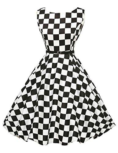 Damen 50er jahre kleid sommerkleid knielang schachbrett partykleid rockabilly kleid XS