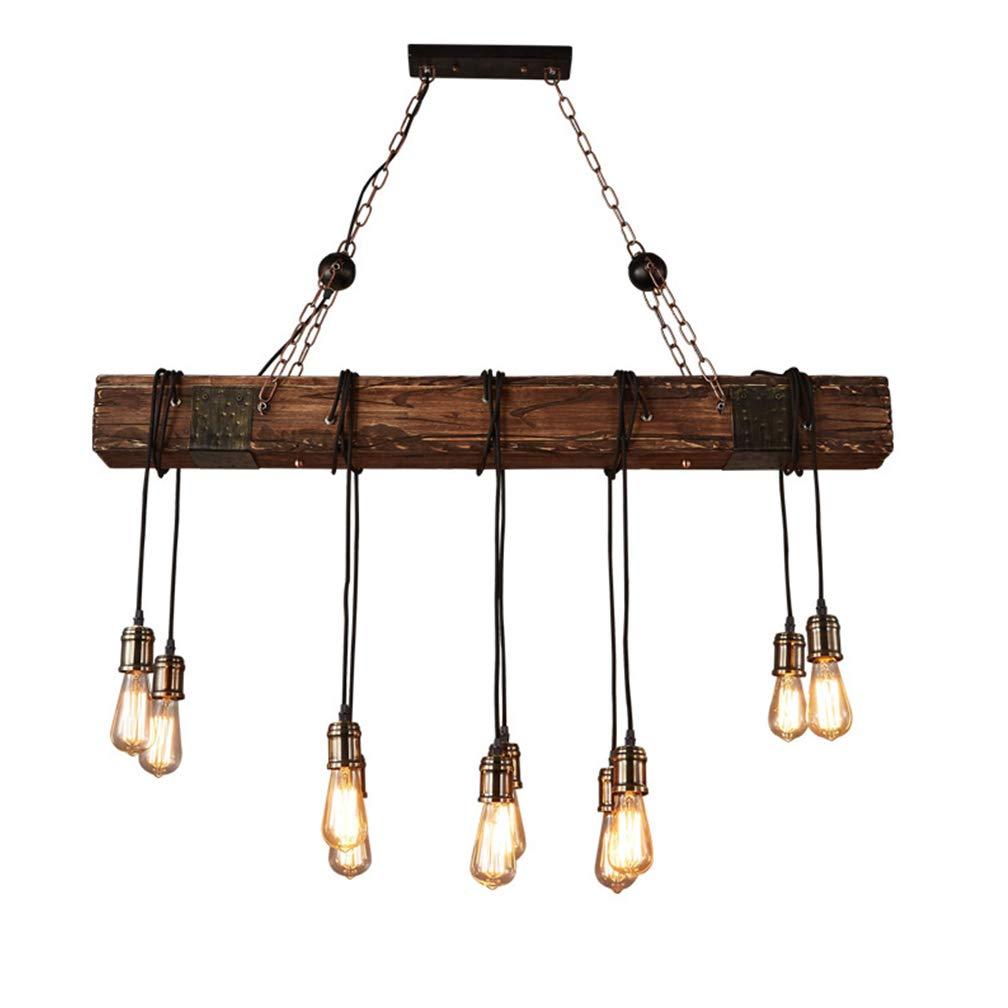 Kronleuchter Pendelleuchte Retro Industrial Vintage Holz Metall Höhenverstellbar E27 Hängelampe Hängeleuchte 10-flammig Leuchte Loft Vintage Anhänger Innen Dekorativ Decke Lampe Wohnzimmer Esszimmer