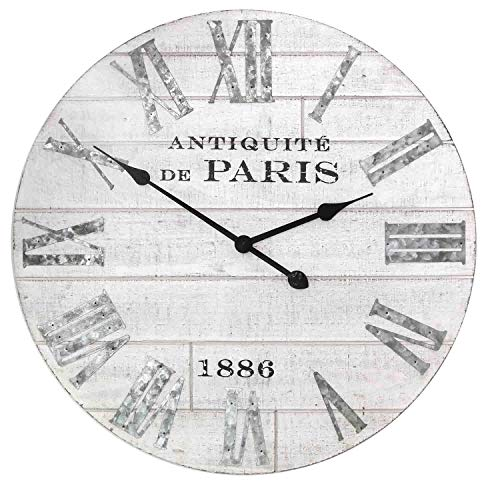 MISC Frameless Shiplap Wall Clock Paris Theme Antique White Wooden Planks Clock Face Galvanized Roman Numerals Analog Hanging Timepiece, 24 inch Round (Plank Wood Clock White)