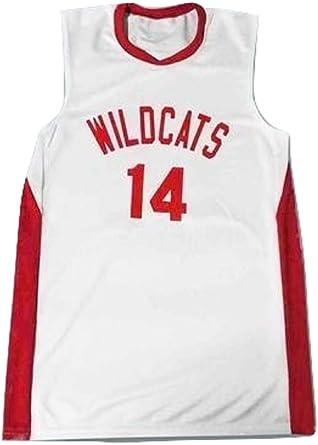 Zac E Troy Bolton 14 East High School Wildcats White Basketball Jersey