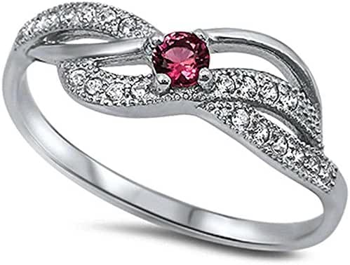 New Simulated Simulated Ruby & Cubic Zirconia Fashion .925 Sterling Silver Ring Sizes 4-12