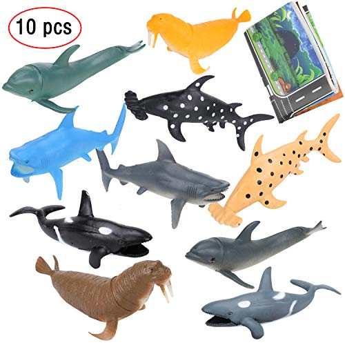 (IAMGlobal 10 Pcs 7 Inch Sea Animals Figure Toys With 31 Inch Cute Map, Huge Whale And Shark Toy Figures, Realistic Ocean Creatures, Plastic Animal Toy Set, Large Deep Sea Animals, Kids Figure Bath Toy)