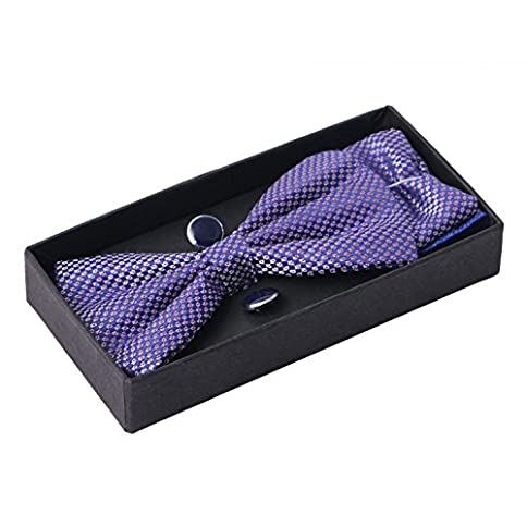 - 51r0q06OmlL - Sorella'z Mens Multicolor Micro Fibre Bowtie Pocket Square & Cufflinks Gift Set