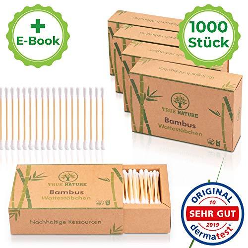 DERMATEST: SEHR GUT – TRUE NATURE® [1000 Stück] Zero Waste Bambus Wattestäbchen – Q Tips ohne Plastik – Cotton Buds – 100% biologisch abbaubar +Ebook
