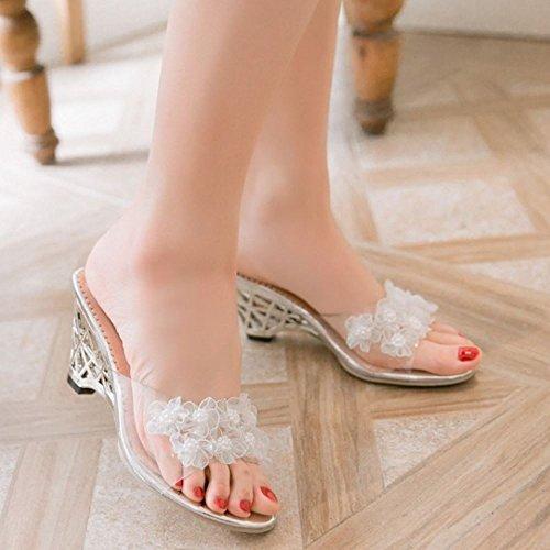 Zanpa Mujer Slip On Sandalias Wedges Verano Zapatos Flower Beaded Blanco