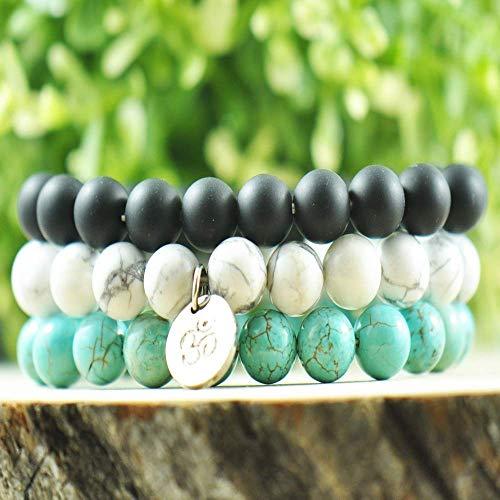 (Forziani INNER STRENGTH - 10mm Genuine Natural Stone Black Agate, Howlite and Turquoise Beads Bracelets for Men - Set of 3 Beaded Bracelets with Om - Gift Packaging)