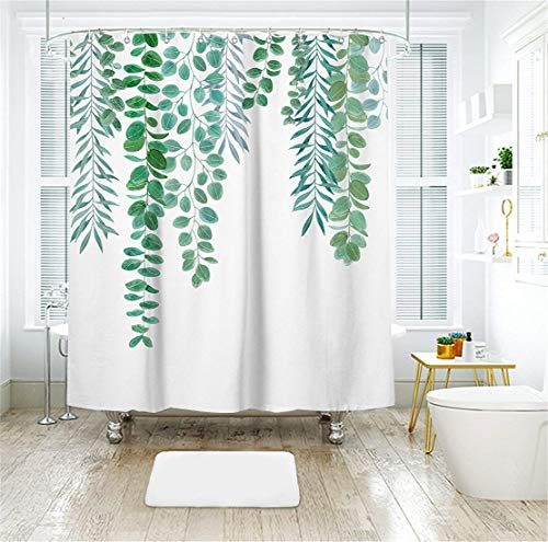 Livilan Simple Green Leaves Shower Curtain Set 70.8'' x 70.8'', Decorative Waterproof Quick Dry Thick Polyester Fabric Bathroom Curtain by Livilan