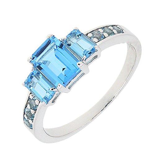 Genuine Ring Emerald Stone 3 (Sterling Silver Emerald Cut Genuine Blue Topaz Three Stone Ring (2.3 CT.T.W) (9))