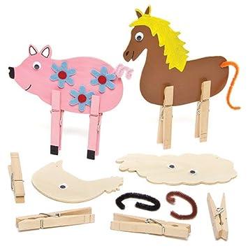 Baker Ross Tierfiguren Mit Wascheklammern Aus Holz Fur Kinder Zum