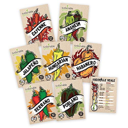Hot Pepper Seeds Variety Pack - 100% Non GMO - Habanero, Jalapeno, Cayenne, Anaheim, Hungarian Hot Wax, Serrano, Poblano. Heirloom Chili Pepper Seeds for Planting in Your Organic Garden