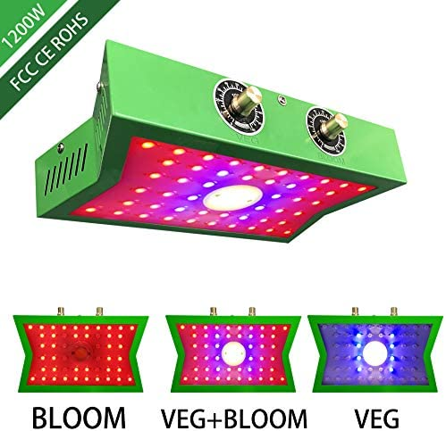 COB LED Grow Light 1200W Adjustable Veg&Bloom Switch Full Spectrum Growing Lamps Double Chips for Indoor Plants Hydroponics Greenhouse Fruits Veg and Flowers Growing Light Fixtures / COB LED Grow Light 1200W Adjustable Veg&Bloom Sw...