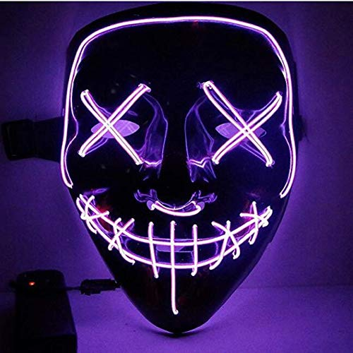 Moonideal LED Light up Mask Festival Parties Frightening Wire Halloween Sound Induction Flash with Music (Purple) ()