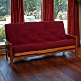 New Replacement Futon Mattress Solid Cover 11 Layer Factory Direct Full/Queen (Queen, Burgundy)
