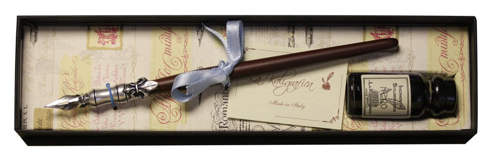 Coles Calligraphy Pen and Ink Set - Pewter/Wood 1870