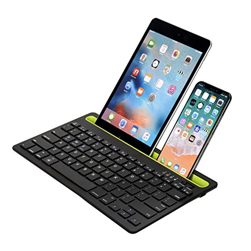 Sky Hiker Bluetooth keyboard, Dual Channel Multi-device Universal Bluetooth Rechargeable Keyboard with Integrated Stand for for Windows Android iOS PC Tablet Smartphone Macbook by Sky Hiker