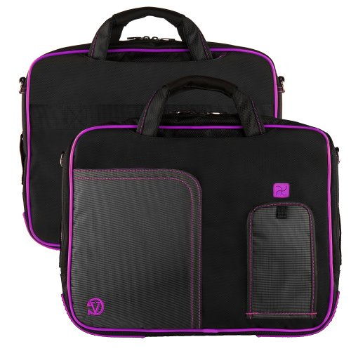 Purple Plum Pindar Ultra Durable 10 inch Tactical Messenger bag for your View Sonic VeiwPad 10 Tablet with Extra Features: Reinforced durable constructions, Velcro charging port to charge without removing device, extra pockets for charger and 8 Inch tablets or eReaders, Unique pull down Smartphone & MP3 front pocket with earphones slot, and Tuck Away Handles + Universal Earbuds!!