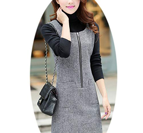 Autumn and Winter Woolen Dress Slim Vest Plaid Skirt Sleeveless Bottoming Tide F ()