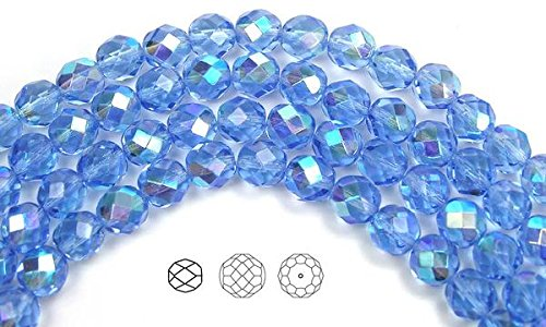 - 8mm (51 beads) Light Sapphire AB, Czech Fire Polished Round Faceted Glass Beads, 16 inch strand