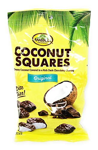 (Anastasia coconut squares dark chocolate coating 3 oz(pack of 4))