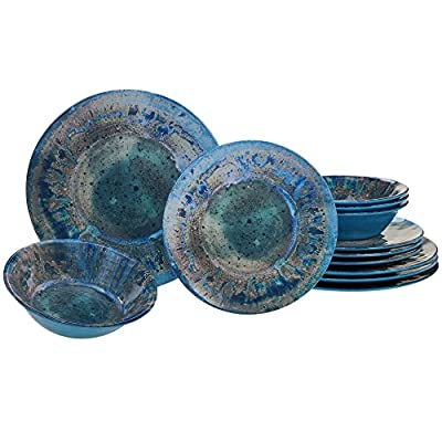 "Certified International Radiance Teal Melamine 12 pc Dinnerware Set - Designed by davis sanchez Includes: 4 each: 10.5"" dinner plates, 8.5"" Salad/dessert plates, 7.5""X2"" all purpose bowls Heavy Weight and durable Melamine - kitchen-tabletop, kitchen-dining-room, dinnerware-sets - 51r0smdKHwL. SS400  -"