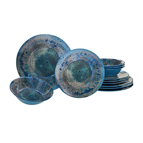 "Certified International Radiance Teal Melamine 12 pc Dinnerware Set - Designed by davis sanchez Includes: 4 each: 10.5"" dinner plates, 8.5"" Salad/dessert plates, 7.5""X2"" all purpose bowls Heavy Weight and durable Melamine - kitchen-tabletop, kitchen-dining-room, dinnerware-sets - 51r0smdKHwL. SS570  -"