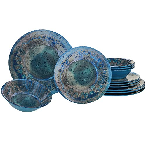 Certified International Radiance Teal Melamine 12 pc Dinnerware - Dinnerware Dishes Unique Sets