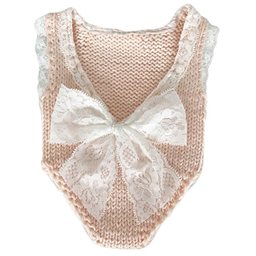 Baby Photography Props Girl Photo Shoot Outfits Newborn Crochet Costume Infant Knitted Clothes Rompers (Peach) (Girls Crochet Outfits)