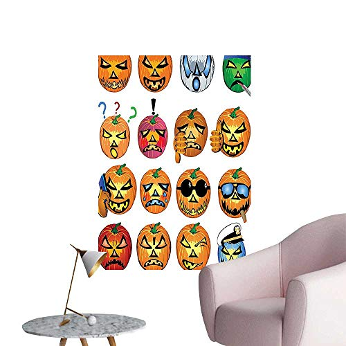 Wall Art Prints Pumpkin Emoji Fac Halloween Hipster sters Harv Graphic Orange for Living Room Ready to Stick on Wall,20