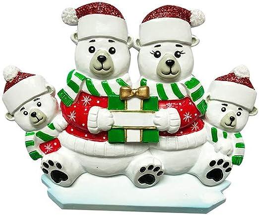 Personalised Gifts Xmas Polar Bear Christmas Tree Resin Decoration Santa