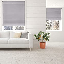 "Calyx Interiors Light Filtering Grey Cordless Fabric Roman Shade 34"" W X 72"" H"