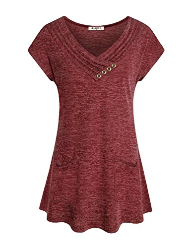 Pleated Womens Slacks - Jazzco Casual Loose Tops for Women,Summer Cap Sleeve V Neckline Flowy Shirts Maternity Button Neck Long Flowy Pleated Comfy A Line Swing Tunic Blouse for Leggings(Wine,XX-Large)