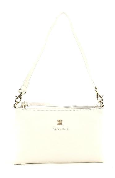 Coccinelle Pelle Vitello Clutch Clutch Tasche Bianco Weiß Neu Kleidung & Accessoires