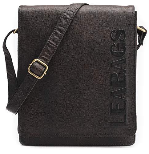 Leabags London Vintage Sac à bandoulière en cuir véritable de buffle - Merlot Valvetbrown lisse