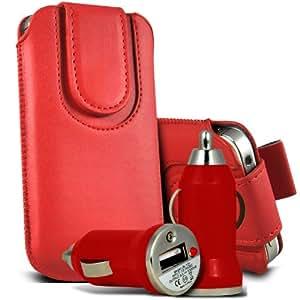 Nokia Lumia 520 premium protección PU botón magnético ficha de extracción Slip In Pouch Pocket Cordón piel cubierta de la cubierta del caso Rápido y Bullet Rápido Cargador USB para coche con LED de carga Luz roja por Spyrox