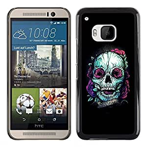 All Phone Most Case / Hard PC Metal piece Shell Slim Cover Protective Case for HTC One M9 Teal Skull Purple Nature Tattoo Ink Black