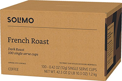 Amazon Brand - 100 Ct. Solimo Dark Roast Coffee Pods, French Roast, Compatible with 2.0 K-Cup Brewers by Solimo (Image #4)