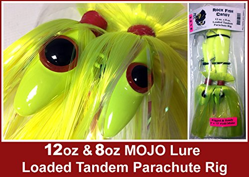 Blue Water Candy Rock Fish Candy 12 oz & 8 oz Mojo Lure Loaded with 9-Inch Swimbait Shad Bodies Tandem Parachute Rigged & Ready ()