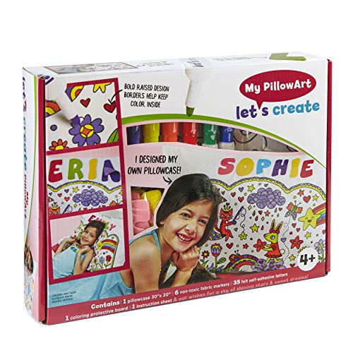PillowArt DIY Pillowcase Art Kit for Kids (Standard) 6 Colorful Fabric Markers, 35 Self-Adhesive Letters, Coloring Protective Board | Personalized Pillow Cover for Girls & Boys