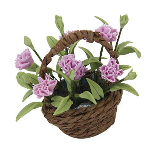 Miniature Purple Carnation Flower Plant w/ Basket 1/12 Dollhouse Home Decoration