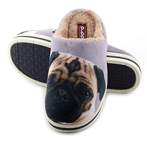 Cute Funny Unisex Animal Cartoon Pattern Winter Warm Thick Slipper Pug 8.5/9