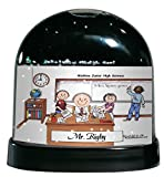 Personalized Friendly Folks Cartoon Caricature Snow Globe Gift: Teacher, High School - Male Great for middle, intermediate, high school teacher