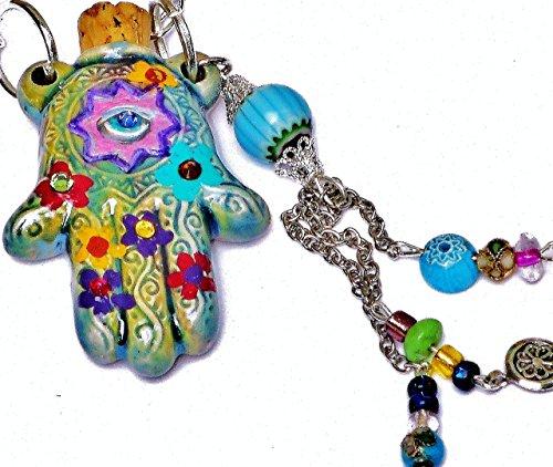 Handpainted Ceramic Hamsa Necklace Aromatherapy Pendant with Dangling Bead Tassel