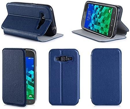 Etui luxe Samsung Galaxy Core Prime SM-G360/SM-G360F 4G / Core Prime VE Value Edition bleu Ultra Slim Cuir Style avec stand - Housse coque de ...
