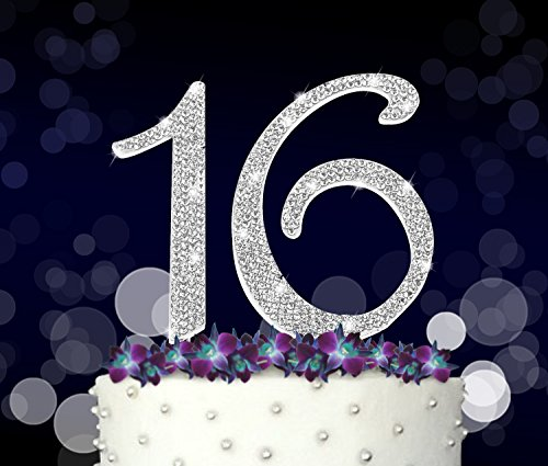 16 Cake Topper, 16th, Sweet 16 Happy Birthday, Anniversary, Crystal Rhinestones on Silver Metal, Party Decorations, Favors (50th Anniversary Metal)