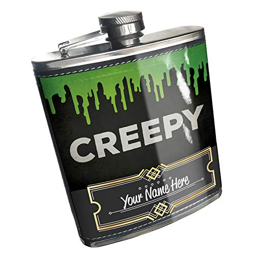Neonblond Flask Creepy Halloween Green Slime Custom Name Stainless -