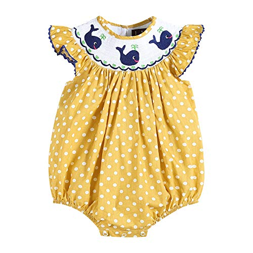 - Lil Cactus 33112015092 Romper with Flutter Sleeve and Whales Yellow